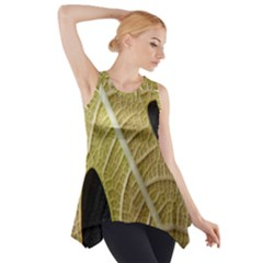 Yellow Leaf Fig Tree Texture Side Drop Tank Tunic