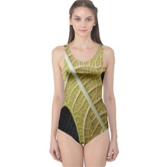 Yellow Leaf Fig Tree Texture One Piece Swimsuit