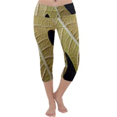 Yellow Leaf Fig Tree Texture Capri Yoga Leggings