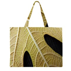 Yellow Leaf Fig Tree Texture Zipper Large Tote Bag