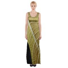 Yellow Leaf Fig Tree Texture Maxi Thigh Split Dress