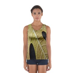 Yellow Leaf Fig Tree Texture Women s Sport Tank Top