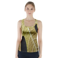 Yellow Leaf Fig Tree Texture Racer Back Sports Top