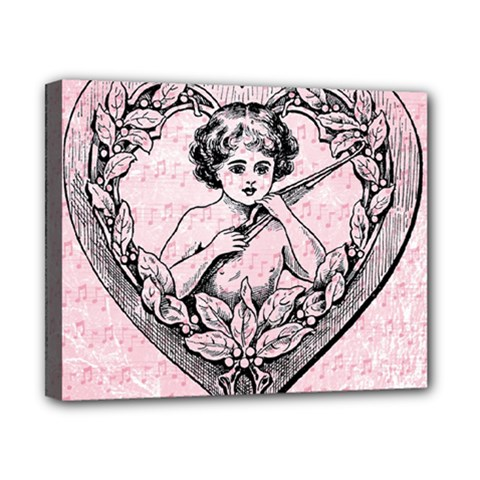 Heart Drawing Angel Vintage Canvas 10  x 8