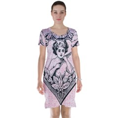 Heart Drawing Angel Vintage Short Sleeve Nightdress