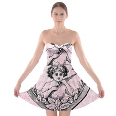 Heart Drawing Angel Vintage Strapless Bra Top Dress