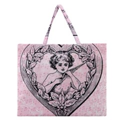 Heart Drawing Angel Vintage Zipper Large Tote Bag