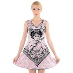 Heart Drawing Angel Vintage V Neck Sleeveless Skater Dress