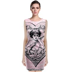 Heart Drawing Angel Vintage Classic Sleeveless Midi Dress