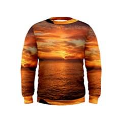 Sunset Sea Afterglow Boot Kids  Sweatshirt
