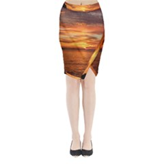 Sunset Sea Afterglow Boot Midi Wrap Pencil Skirt