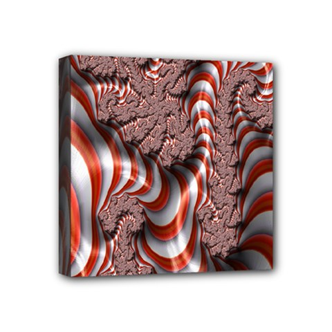 Fractal Abstract Red White Stripes Mini Canvas 4  x 4