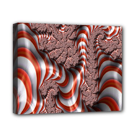 Fractal Abstract Red White Stripes Canvas 10  x 8