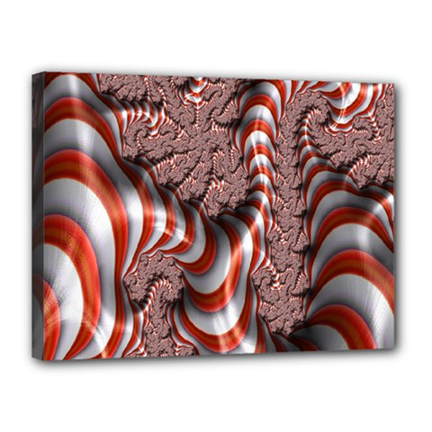 Fractal Abstract Red White Stripes Canvas 16  x 12