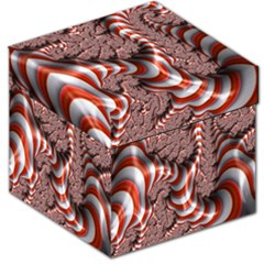 Fractal Abstract Red White Stripes Storage Stool 12