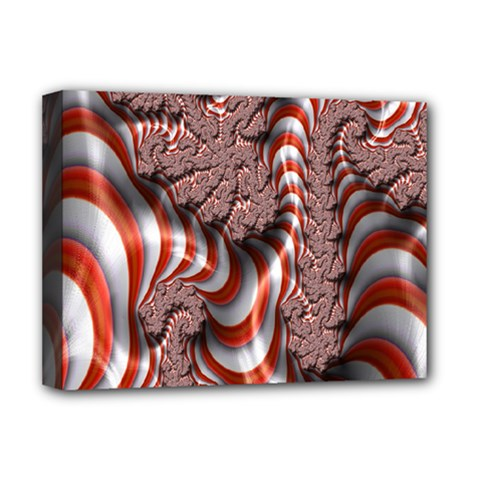 Fractal Abstract Red White Stripes Deluxe Canvas 16  x 12