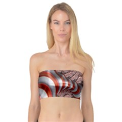 Fractal Abstract Red White Stripes Bandeau Top