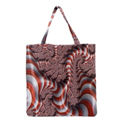Fractal Abstract Red White Stripes Grocery Tote Bag