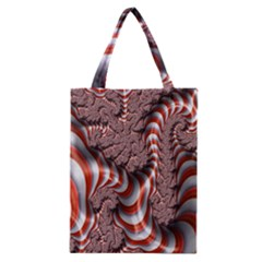 Fractal Abstract Red White Stripes Classic Tote Bag