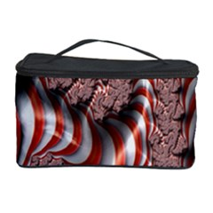 Fractal Abstract Red White Stripes Cosmetic Storage Case