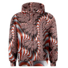 Fractal Abstract Red White Stripes Men s Zipper Hoodie