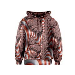 Fractal Abstract Red White Stripes Kids  Zipper Hoodie