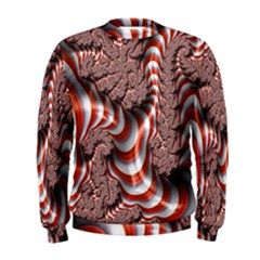 Fractal Abstract Red White Stripes Men s Sweatshirt