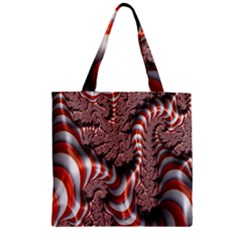 Fractal Abstract Red White Stripes Zipper Grocery Tote Bag