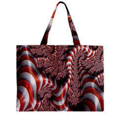 Fractal Abstract Red White Stripes Zipper Mini Tote Bag