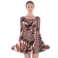 Fractal Abstract Red White Stripes Long Sleeve Skater Dress