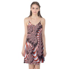 Fractal Abstract Red White Stripes Camis Nightgown