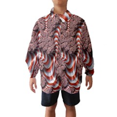 Fractal Abstract Red White Stripes Wind Breaker (Kids)