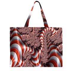 Fractal Abstract Red White Stripes Large Tote Bag
