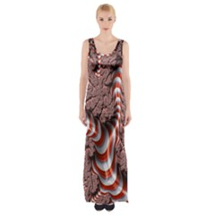 Fractal Abstract Red White Stripes Maxi Thigh Split Dress