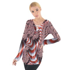 Fractal Abstract Red White Stripes Women s Tie Up Tee