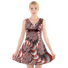 Fractal Abstract Red White Stripes V Neck Sleeveless Skater Dress