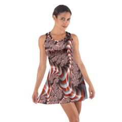 Fractal Abstract Red White Stripes Cotton Racerback Dress