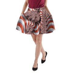 Fractal Abstract Red White Stripes A-Line Pocket Skirt