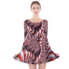Fractal Abstract Red White Stripes Long Sleeve Velvet Skater Dress