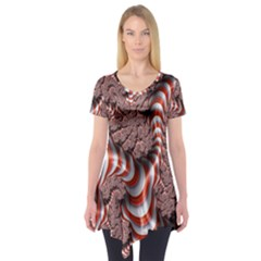 Fractal Abstract Red White Stripes Short Sleeve Tunic