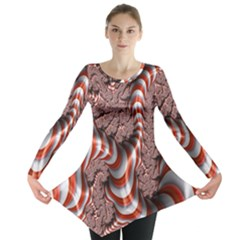 Fractal Abstract Red White Stripes Long Sleeve Tunic