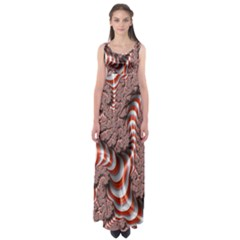 Fractal Abstract Red White Stripes Empire Waist Maxi Dress