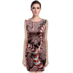 Fractal Abstract Red White Stripes Classic Sleeveless Midi Dress