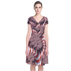 Fractal Abstract Red White Stripes Short Sleeve Front Wrap Dress