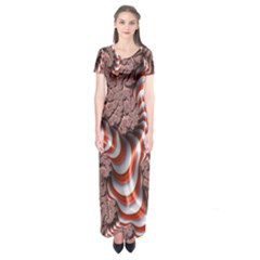 Fractal Abstract Red White Stripes Short Sleeve Maxi Dress