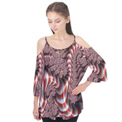 Fractal Abstract Red White Stripes Flutter Tees