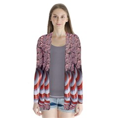 Fractal Abstract Red White Stripes Cardigans