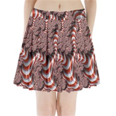 Fractal Abstract Red White Stripes Pleated Mini Skirt