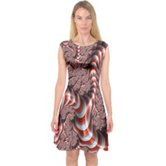 Fractal Abstract Red White Stripes Capsleeve Midi Dress