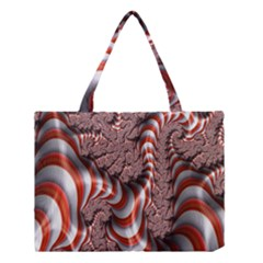 Fractal Abstract Red White Stripes Medium Tote Bag